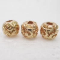 24K Gold Beads, Brass, Drum, 24K gold plated, lead & cadmium free, 6.5x5.5mm, Hole:Approx 1-2mm, 10PCs/Bag, Sold By Bag