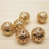 24K золото бисера, Латунь, Круглая, Позолоченные 24k, отверстие, не содержит свинец и кадмий, 8mm, отверстие:Приблизительно 1-2mm, 10ПК/сумка, продается сумка