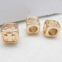 24K золото бисера, Латунь, Квадратная форма, Позолоченные 24k, не содержит свинец и кадмий, 6x4mm, отверстие:Приблизительно 1-2mm, 10ПК/сумка, продается сумка