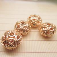 24K золото бисера, Латунь, Плоская круглая форма, Позолоченные 24k, отверстие, не содержит свинец и кадмий, 10x7mm, отверстие:Приблизительно 1-2mm, 10ПК/сумка, продается сумка