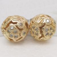 24K золото бисера, Латунь, Круглая, Позолоченные 24k, со стразами & отверстие, не содержит свинец и кадмий, 9mm, отверстие:Приблизительно 1-2mm, продается PC