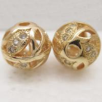 24K золото бисера, Латунь, Круглая, Позолоченные 24k, со стразами & отверстие, не содержит свинец и кадмий, 9.5mm, отверстие:Приблизительно 1-2mm, продается PC