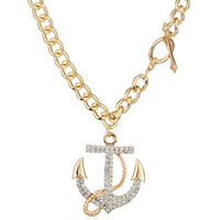 Zinc Alloy Jewelry Necklace, with iron chain, Anchor, gold color plated, curb chain & with rhinestone, lead & cadmium free, 40x50mm, Sold Per Approx 18.5 Inch Strand
