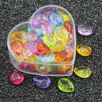 Acrylic Pendants, Teardrop, transparent & faceted, mixed colors, 13x18mm, Hole:Approx 2mm, 500G/Bag, Sold By Bag