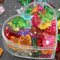Acrylic Pendants, Heart, transparent, mixed colors, 15mm, Hole:Approx 2mm, 500G/Bag, Sold By Bag