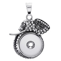 Snap Button Pendant, Zinc Alloy, Ganesha, antique silver color plated, with rhinestone, lead & cadmium free, 18mm, Hole:Approx 3-5mm, Inner Diameter:Approx 6mm, Sold By PC