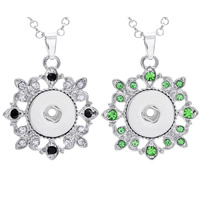 Snap Button Pendant, Zinc Alloy, platinum color plated, with rhinestone, more colors for choice, lead & cadmium free, 18mm, Hole:Approx 3-5mm, Inner Diameter:Approx 6mm, Sold By PC