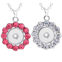 Snap Button Pendant, Zinc Alloy, Flower, platinum color plated, with rhinestone, more colors for choice, lead & cadmium free, 18mm, Hole:Approx 3-5mm, Inner Diameter:Approx 6mm, Sold By PC