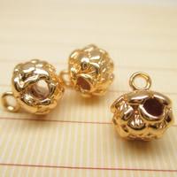Mosiężny pałąk koraliki, Mosiądz, Lotos Seedpod, pozłacane 24-karatowym złotem, Buddyjski biżuteria, bez zawartości ołowiu i kadmu, 8x9mm, otwór:około 1-2mm, 10komputery/torba, sprzedane przez torba