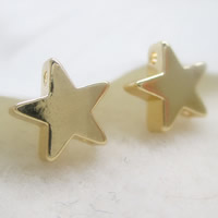 24K золото бисера, Латунь, Звезда, Позолоченные 24k, двойное отверстие, не содержит свинец и кадмий, 7x2.5mm, отверстие:Приблизительно 1-2mm, 10ПК/сумка, продается сумка