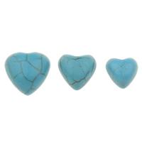 Синтетическая бирюза кабошон, Сердце, разный размер для выбора & плоской задней панелью, голубой, 100ПК/сумка, продается сумка