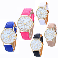 Women Wrist Watch, PU, with Glass & Zinc Alloy, plated, adjustable & for woman, more colors for choice, nickel, lead & cadmium free, 22x5mm, Length:Approx 9.4 Inch, Sold By PC