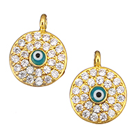 Evil Eye Pendants, Brass, Flat Round, real gold plated, evil eye pattern & micro pave cubic zirconia & enamel, nickel, lead & cadmium free, 10x13x4mm, Hole:Approx 1.5mm, 10PCs/Lot, Sold By Lot