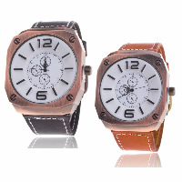 Men Wrist Watch, Cowhide, with Glass & Zinc Alloy, plated, for man, more colors for choice, Length:Approx 9.4 Inch, 5PCs/Lot, Sold By Lot