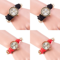Women Wrist Watch, Zinc Alloy, with Ribbon & Glass, plated, for woman & with rhinestone, more colors for choice, Length:Approx 9.4 Inch, 5Strands/Lot, Sold By Lot