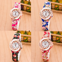 Women Wrist Watch, Plastic, with zinc alloy dial & Glass, plated, different designs for choice & with flower pattern & for woman & with rhinestone, Length:Approx 9.4 Inch, 5PCs/Lot, Sold By Lot