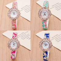 Women Wrist Watch, Plastic, with zinc alloy dial & Glass, plated, with flower pattern & for woman & with rhinestone, more colors for choice, Length:Approx 9.4 Inch, 5PCs/Lot, Sold By Lot