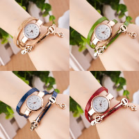 Women Watch Bracelet, PU, with Glass & Zinc Alloy, plated, for woman & 3-strand & with rhinestone, more colors for choice, Length:Approx 22.4 Inch, 5Strands/Lot, Sold By Lot