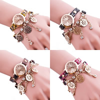 Women Watch Bracelet, PU, with Glass & Zinc Alloy, plated, charm bracelet & for woman & with rhinestone & 2-strand, more colors for choice, Length:Approx 16.5 Inch, 5Strands/Lot, Sold By Lot