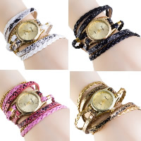 Women Watch Bracelet, PU, with Glass & Zinc Alloy, plated, for woman & 3-strand, more colors for choice, Length:Approx 22.4 Inch, 5Strands/Lot, Sold By Lot