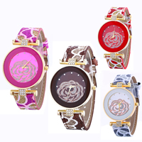 Women Wrist Watch, PU, with Glass & Zinc Alloy, plated, adjustable & different designs for choice & with flower pattern & for woman & with rhinestone & colorful powder, nickel, lead & cadmium free, 22x5mm, Length:Approx 9.4 Inch, Sold By PC