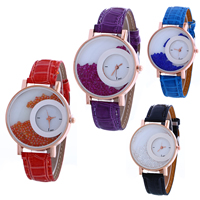 Unisex Wrist Watch, PU, with Glass & Zinc Alloy, plated, adjustable & faceted, more colors for choice, nickel, lead & cadmium free, 40x5mm, Length:Approx 9.4 Inch, Sold By PC