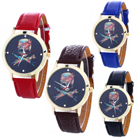 Unisex Wrist Watch, PU, with Glass & Zinc Alloy, plated, adjustable & faceted, more colors for choice, nickel, lead & cadmium free, 7x28mm, Length:Approx 9.4 Inch, Sold By PC