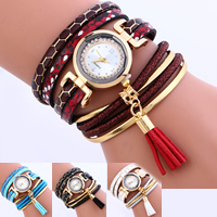 Wrap Watch, PU, with Velveteen Cord & Glass & Zinc Alloy, gold color plated, adjustable & for woman & with rhinestone & 2-strand, more colors for choice, nickel, lead & cadmium free, 22x5mm, Sold Per Approx 12.5 Inch Strand