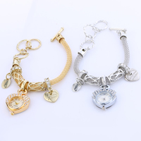 Women Watch Bracelet, Zinc Alloy, with Glass, Heart, plated, for woman & with rhinestone, more colors for choice, nickel, lead & cadmium free, 22x5mm, Sold Per Approx 9 Inch Strand