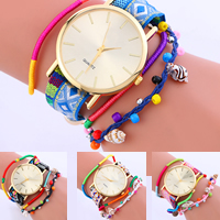 Wrap Watch, Nylon Cord, with Glass Seed Beads & Glass & Zinc Alloy, with 1lnch extender chain, gold color plated, Bohemian style & for woman & 4-strand, more colors for choice, nickel, lead & cadmium free, 34x7mm, Sold Per Approx 9.4 Inch Strand