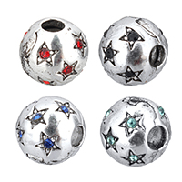Brass European Clip Drum antique silver color plated with star pattern   with rhinestone nickel lead   cadmium free 10x9x10mm Hole:Approx 3.5mm 100PCs/Lot