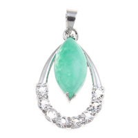Natural Jade Pendants, Brass, with Dyed Jade, Teardrop, platinum color plated, with rhinestone, nickel, lead & cadmium free, 16.50x26x7.50mm, Hole:Approx 3.5x4mm, Sold By PC