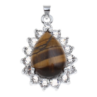 Natural Tiger Eye Pendants, Brass, with Tiger Eye, Teardrop, platinum color plated, with rhinestone, nickel, lead & cadmium free, 21x33x9mm, Hole:Approx 2mm, Sold By PC