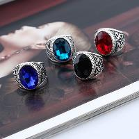 Кольца с кристаллами, цинковый сплав, с Кристаллы, плакированный цветом под старое серебро, разный размер для выбора & Женский & граненый, Много цветов для выбора, 22x23mm, 3ПК/Лот, продается Лот