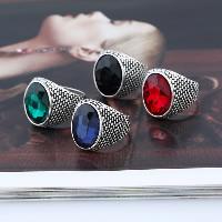 Кольца с кристаллами, цинковый сплав, с Кристаллы, плакированный цветом под старое серебро, разный размер для выбора & Женский & граненый, Много цветов для выбора, 21x23mm, 3ПК/Лот, продается Лот