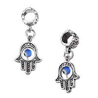 Evil Eye Pendants, Zinc Alloy, with Resin, Evil Eye Hamsa, antique silver color plated, Islamic jewelry, nickel, lead & cadmium free, 13x18x4mm, 30mm, Hole:Approx 5.5mm, 200PCs/Lot, Sold By Lot