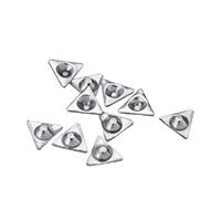 сеттинг для кабошона из нержавеющей, нержавеющая сталь, Треугольник, острый конец, оригинальный цвет, 7x6.50x2mm, внутренний диаметр:Приблизительно 3mm, 2000ПК/Лот, продается Лот