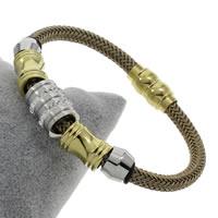 Пластиковые браслет, нержавеющая сталь, с клей & Силикон & пластик, Другое покрытие, Женский, 16x13mm, длина:Приблизительно 8 дюймовый, 5пряди/сумка, продается сумка