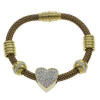 Пластиковые браслет, нержавеющая сталь, с клей & пластик, Сердце, плакирован золотом, Женский, 17x16x11mm, длина:Приблизительно 7 дюймовый, 5пряди/сумка, продается сумка