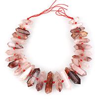 рубиновый кварц Ожерелье, с Нейлоновый шнурок, Маятник, натуральный, Июль камень & Женский, 8-15x28-46x7-16mm, Продан через Приблизительно 16 дюймовый Strand
