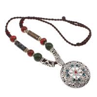 Ожерелья из фарфора, цинковый сплав, с фарфор & Нейлоновый шнурок, Плоская круглая форма, плакированный цветом под старое серебро, не содержит свинец и кадмий, 46x62x7mm, Продан через 24 дюймовый Strand