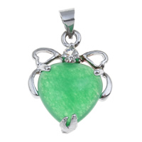 Natural Jade Pendants Zinc Alloy with Green Aventurine Heart platinum color plated with rhinestone lead   cadmium free 16x20x7mm Hole:Approx 4x5mm