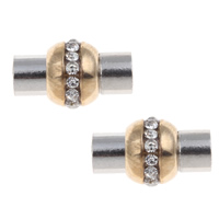 Brass Magnetic Clasp plated with rhinestone   two tone nickel lead   cadmium free 19x11.5mm Hole:Approx 4.5mm 10PCs/Bag