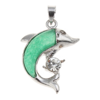 Natural Aventurine Pendants, Brass, with Green Aventurine, Dolphin, platinum color plated, with rhinestone, nickel, lead & cadmium free, 17x26x4mm, Hole:Approx 3.5x4mm, Sold By PC