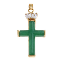 Natural Aventurine Pendants, Brass, with Green Aventurine, Cross, gold color plated, with rhinestone, nickel, lead & cadmium free, 28.50x34x4mm, Hole:Approx 3.5x4mm, Sold By PC