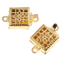 Zinc Alloy Box Clasp, gold color plated, single-strand & hollow, lead & cadmium free, Hole:Approx 0.5-1mm, 10PCs/Bag, Sold By Bag