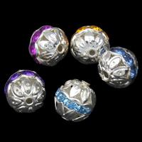 Ажурные бусины, Железо, Круглая, плакирован серебром, со стразами, Много цветов для выбора, не содержит свинец и кадмий, 10mm, отверстие:Приблизительно 1mm, 100ПК/сумка, продается сумка