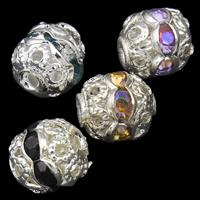 Ажурные бусины, Железо, Круглая, плакирован серебром, со стразами & отверстие, Много цветов для выбора, не содержит свинец и кадмий, 6mm, отверстие:Приблизительно 1mm, 100ПК/сумка, продается сумка