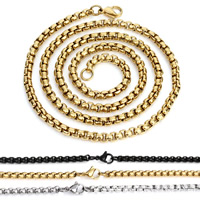 Stainless Steel Chain Necklace plated Unisex   box chain 4mm Sold Per Approx 23.5 Inch Strand