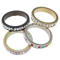 Messing Linking Ring, Donut, plated, met strass, meer kleuren voor de keuze, nikkel, lood en cadmium vrij, 23.5x4.5mm, Gat:Ca 19mm, 10pC's/Bag, Verkocht door Bag